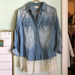 Altar'd State Chambray Lace Top